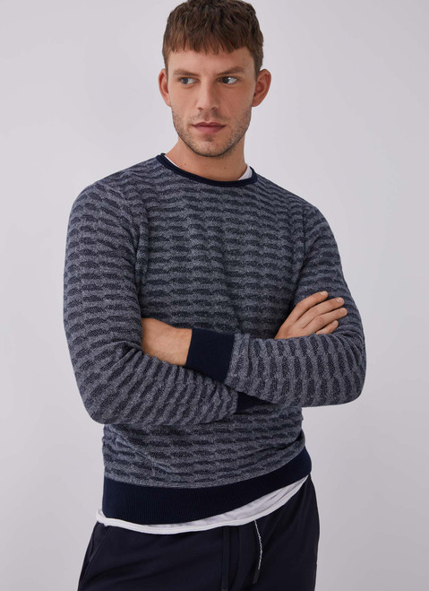 Blue/Grey Printed Cotton Sweater