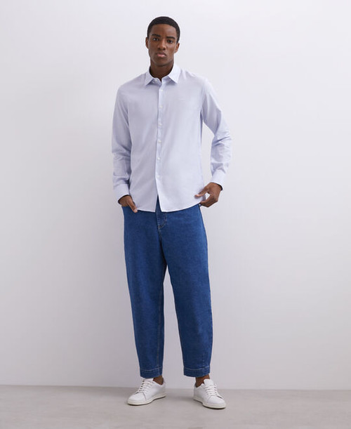 Sky blue Gingham Lyocell And Cotton Shirt