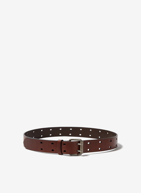 BROWN LEATHER BELT WITH DOUBLE PIN BUCKLE