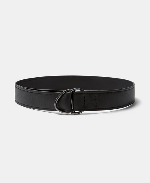 Black Wide Leather Belt With Loops