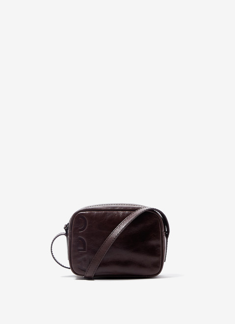 BROWN CRACKLED GLOSSY LEATHER CROSSBODY BAG