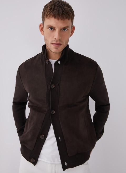 Brown Buttoned Cardigan With Suedette Front