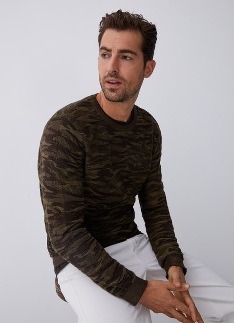 Brown Cotton Sweater With Military Intarsia