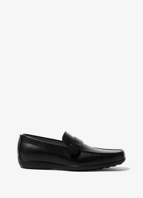Black Leather Moccasins With Rubber Sole
