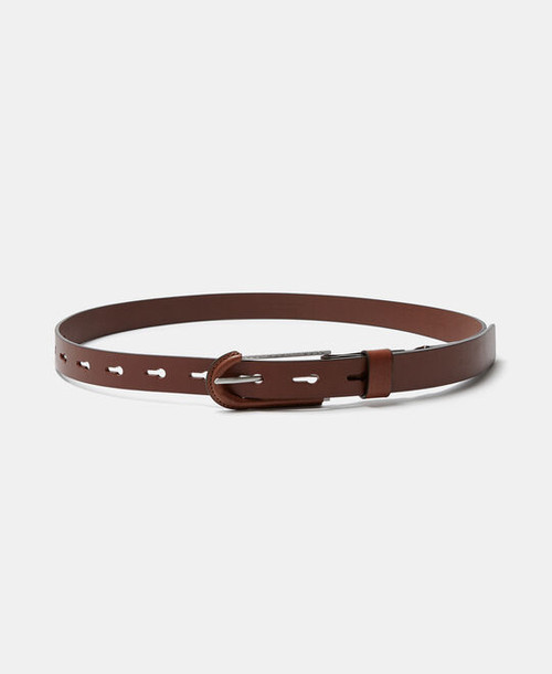 Buff colour Narrow Leather Belt With Buckle