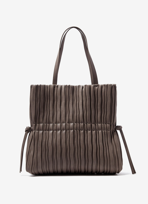 BROWN WRINKLE SHOPPER WITH DOUBLE STRAP