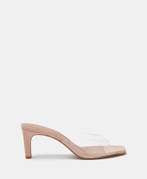Nude Heeled Sandals With Squared Vamp