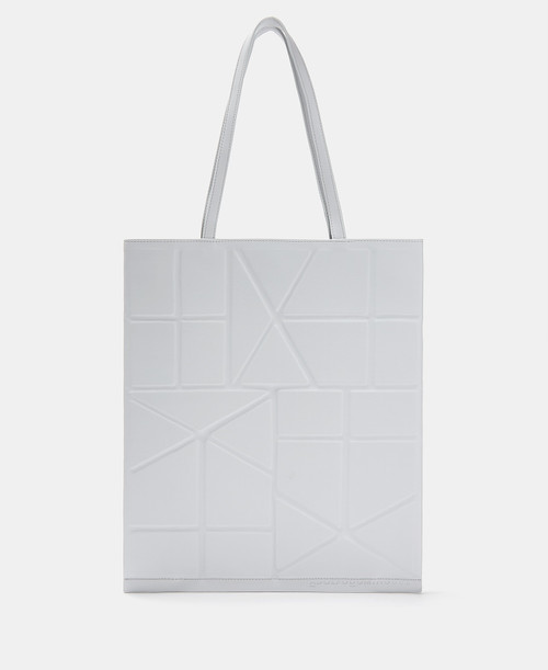 Grey Tote Bag With Geometric Lines