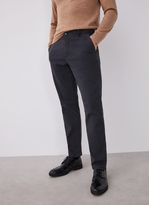 Charcoal Elastic Cotton Chino Trousers