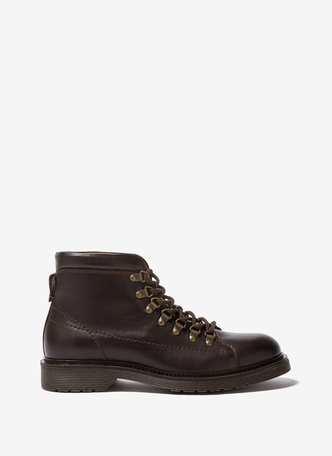 BROWN LEATHER MILITARY ANKLE BOOTS