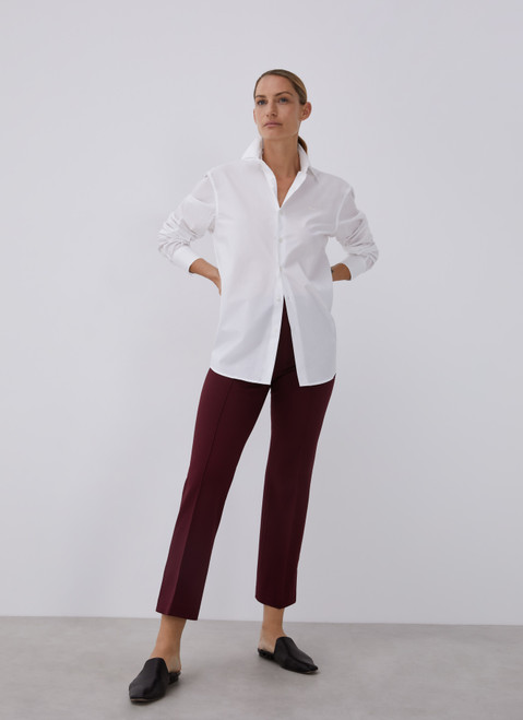 Burgundy Straight Trousers With French Seams