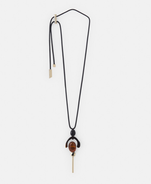 Amber Resin And Metal Geometry Necklace