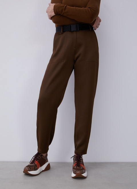 DARK GREEN CARGO STYLE TROUSERS WITH ELASTIC ANKLE