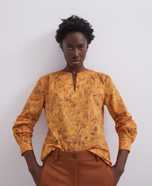 Multicolor Cotton Blouse With Puffed Sleeves