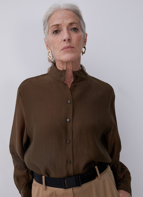 GREEN LYOCELL SHIRT WITH RAISED COLLAR