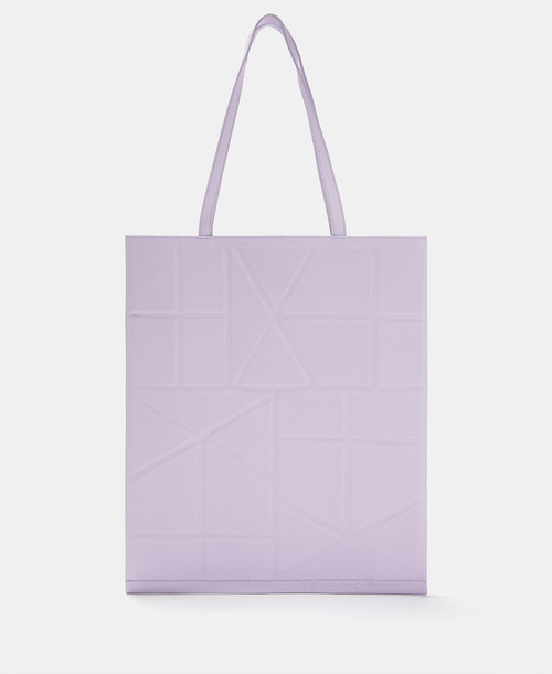 Lilac Tote Bag With Geometric Lines