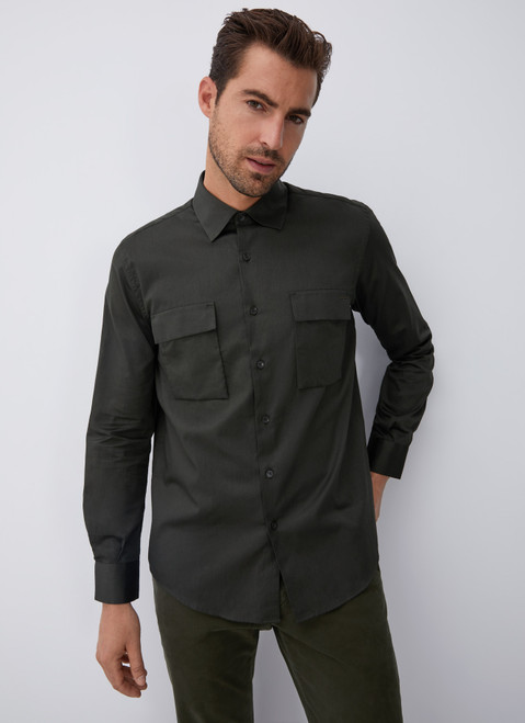 GREEN COTTON SHIRT WITH CHEST POCKETS