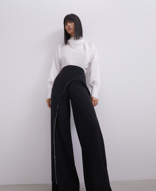 Black/white Straight Trousers With Overlayer