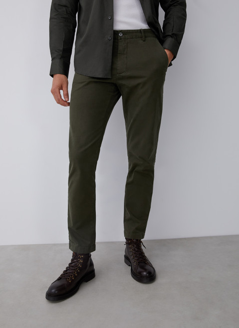 Green Elastic Cotton Chino Trousers