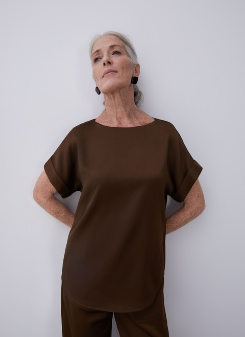 Brown Blouse With Short Drop Sleeve