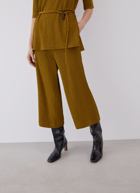 Green Viscose Cropped Trousers