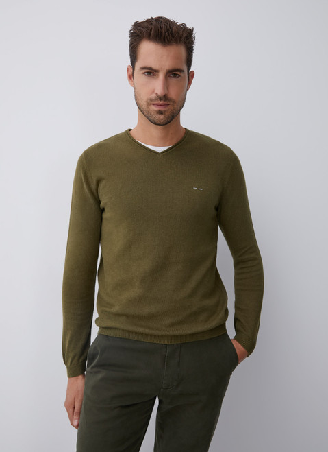 Green V-Neckline Sweater With Roll Edge Collar