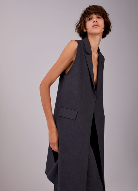 Grey Long Waistcoat With Notched Lapels