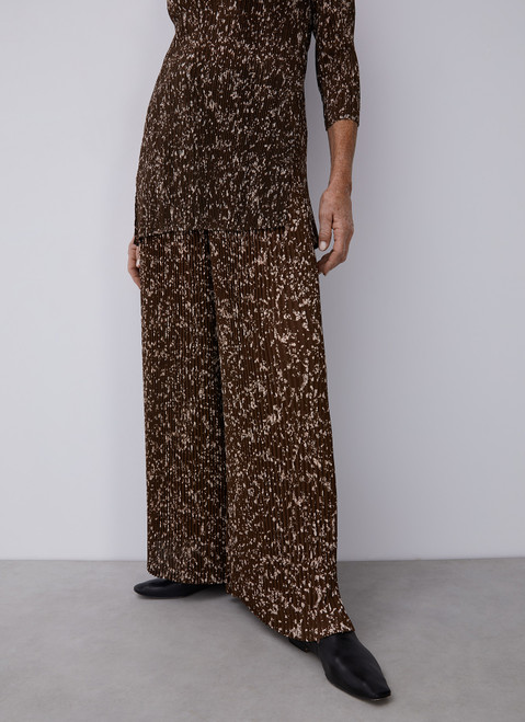 GREEN PRINT CRINKLE TROUSERS WITH SIGNATURE PRINT
