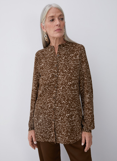 Brown Printed Shirt With Crew Collar