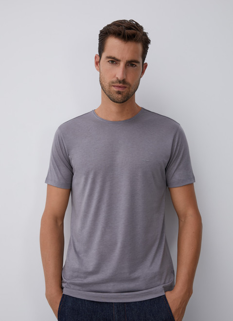 Grey Lyocell And Cotton T-Shirt