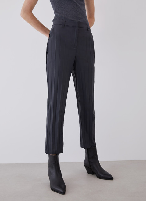 Grey Pleated Ankle Length Trousers