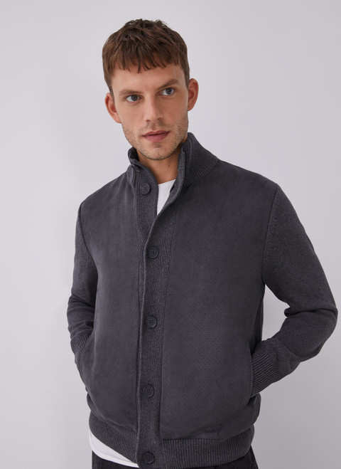 Grey Buttoned Cardigan With Suedette Front