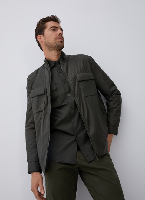 Green Padded Overshirt With Flap Pockets