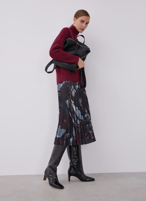 MULTICOLOR PLEATED SKIRT WITH SIGNATURE PRINT
