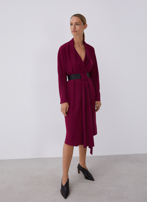 MAROON WRAP DRESS WITH FAUX LEATHER BELT