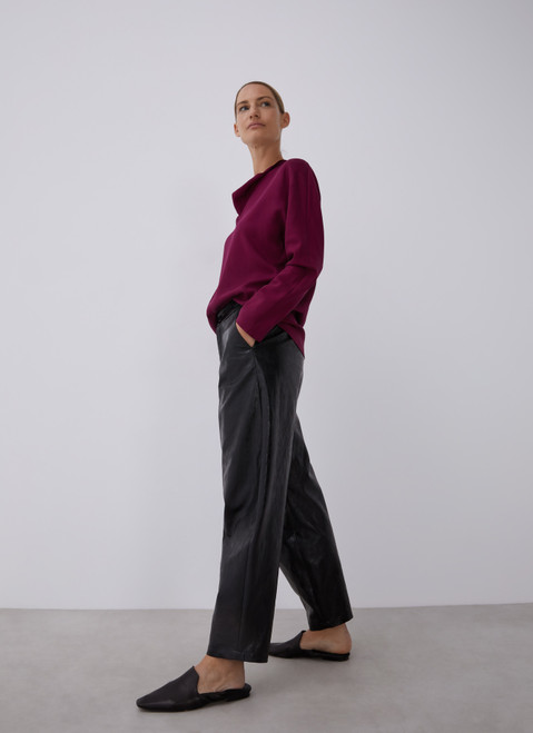 Maroon Lyocell Blouse With Cascade Neckline