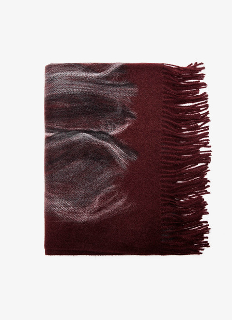 MAROON SCARF WITH CONTRASTING PRINT