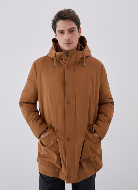 Mustard Cotton Padded Parka With Hood