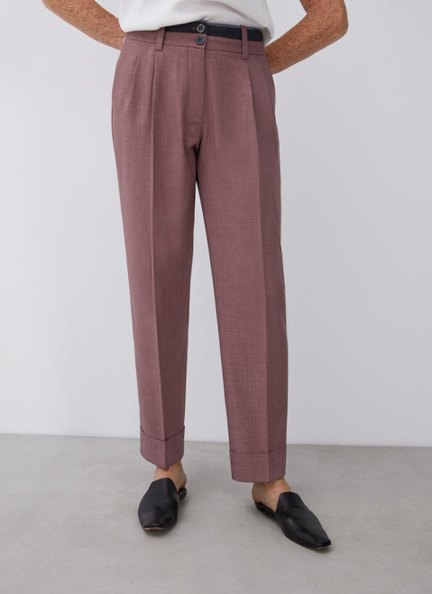 Pink Straight Trousers With Darts