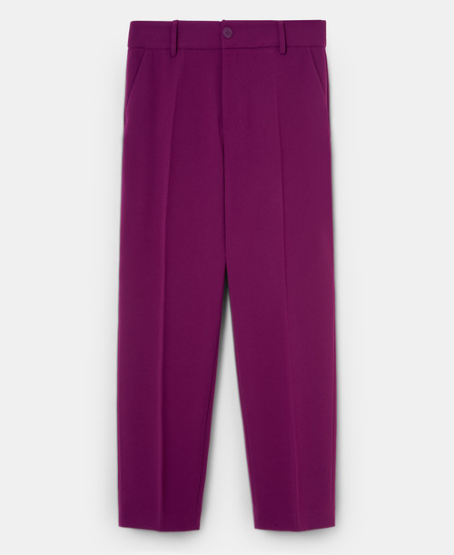 Red Bougainvillea Ankle-Length Straight Trousers