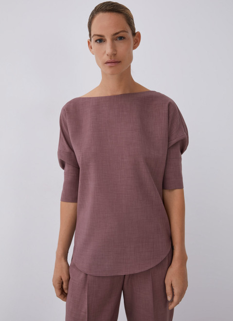 Pink Blouse With Puffed Elbow Sleeve