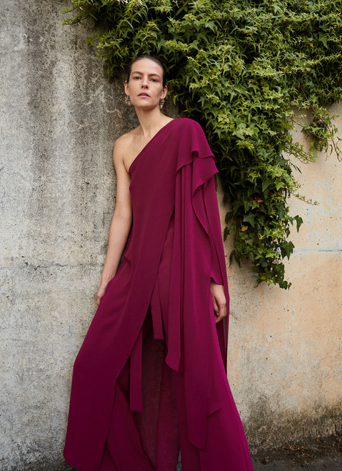 Red Bougainvillea Asymmetric Jumpsuit With Overlayer