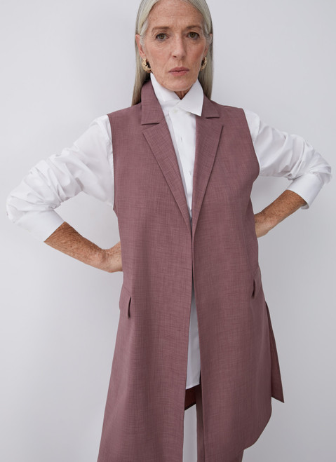 Pink Long Waistcoat With Notched Lapels