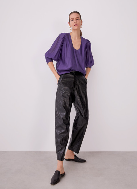 Purple Shirt With Puff Sleeves