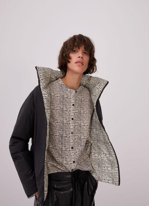 White And Black Puffer Reversible Jacket