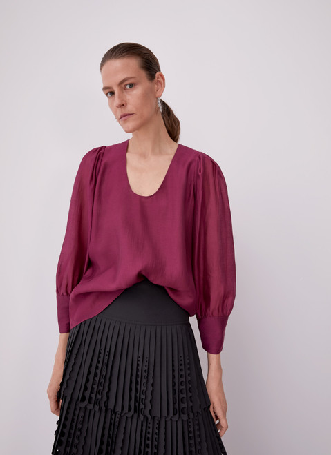 Red Bougainvillea Shirt With Puff Sleeves