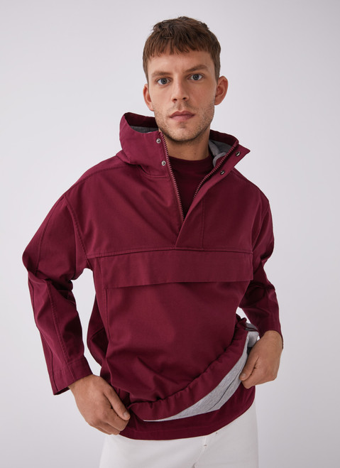 Red Hooded Pullover With Maxi Pocket