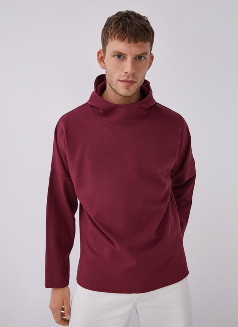 RED HOODED SWEATSHIRT WITH CHIMNEY COLLAR