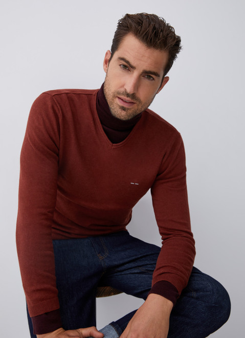 Red V-Neckline Sweater With Roll Edge Collar