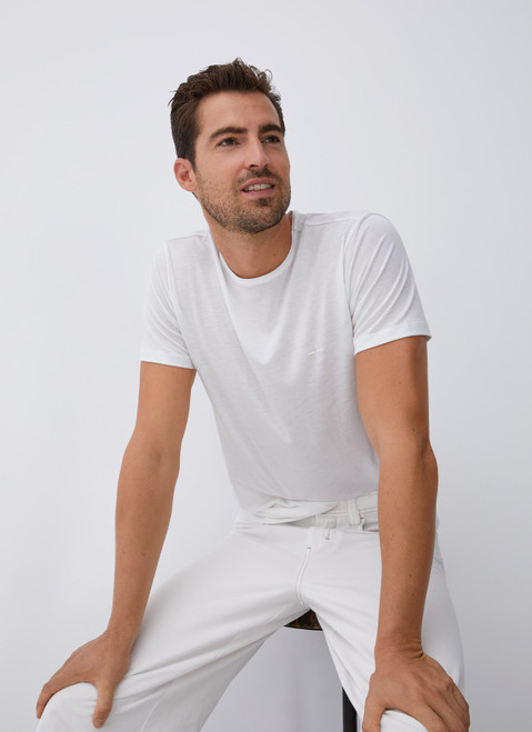 White Lyocell And Cotton T-Shirt